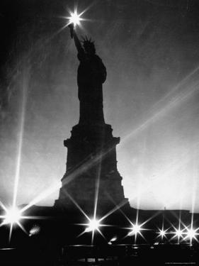 Crystalline Lights Surrounding Statue of Liberty during WWII Blackout by Andreas Feininger