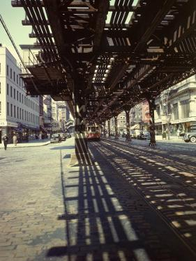 Elevated Rail and Streetcar in New York Times Square by Andreas Feininger