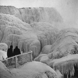 Frozen Niagara Falls, Trees, Park Grounds and Rocks Covered with Ice and Mist by Andreas Feininger