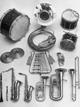 Musical Instruments Which Are Used in a Marching Band by Andreas Feininger