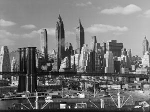 New York City Skyline and Brooklyn Bridge, 1948 by Andreas Feininger