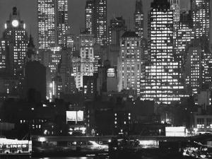 Night Panorama of New York City Buildings by Andreas Feininger