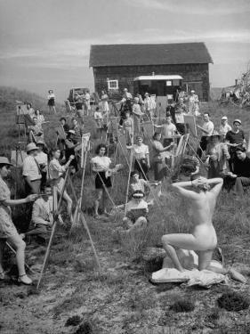 Nude Model Posing for a Large Group of Art Students of the Farnsworth Art School by Andreas Feininger