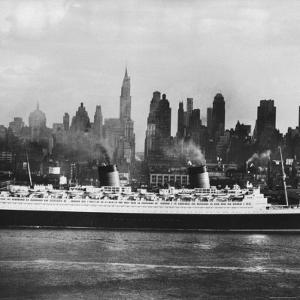 Oceanliner 'Queen Elizabeth' on the Hudson River by Andreas Feininger