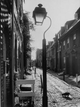 Old Fashioned Street Light in Elfreth's Alley by Andreas Feininger