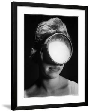 Portrait of a Woman Wearing a Scuba Diving Mask by Andreas Feininger