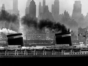 S.S. United States Sailing in New York Harbor by Andreas Feininger