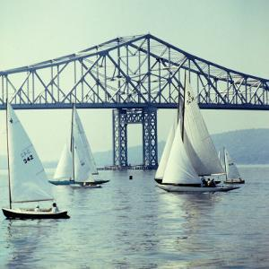 Sailboats in Front of the Central Part of the Tappan Zee Bridge over the Hudson River by Andreas Feininger