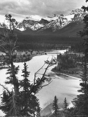 Scenery Along Columbia Icefields Highway in Canadian Rockies between Banff and Jasper by Andreas Feininger