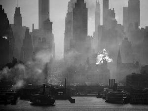 Smoggy Waterfront Skyline of New York City as Seen from the Shores of New Jersey by Andreas Feininger