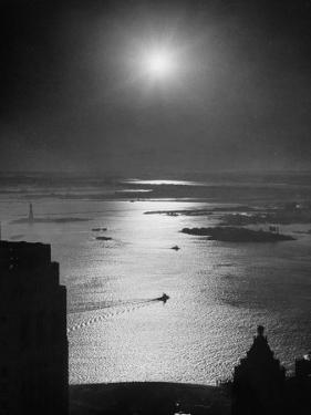 Strikebound Port of New York, Several Tug Boats Steaming across Usually Busy Bay Past Ellis Island by Andreas Feininger