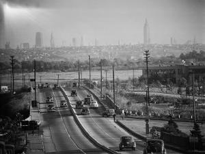 Subject: New York City Skyline Seen from Highway by Andreas Feininger