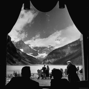 View From Chateau Lake Louise Looking Up Lake Louise at Victoria Glacier by Andreas Feininger
