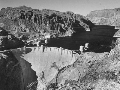 View of Boulder Dam, 726 Ft. High with Lake Mead, 115 Miles Long, Stretching Out in the Background