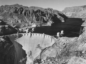View of Boulder Dam, 726 Ft. High with Lake Mead, 115 Miles Long, Stretching Out in the Background by Andreas Feininger