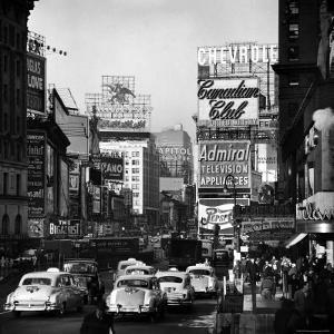 View of Taxi and Traffic Congestion on Broadway Looking North from 45th Street by Andreas Feininger