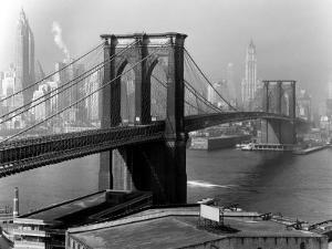 View of the Brooklyn Bridge and the Skyscrapers of Manhattan's Financial District by Andreas Feininger