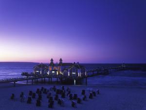 Germany, Mecklenburg-Western Pomerania, the Baltic Sea, RŸgen, Sellin, Pier, Blue Hour by Andreas Keil