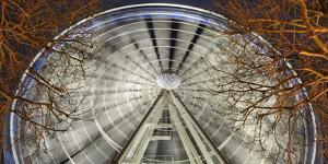 Germany, North Rhine-Westphalia, Dusseldorf, Big Wheel on the Old Town Bank at Night by Andreas Keil