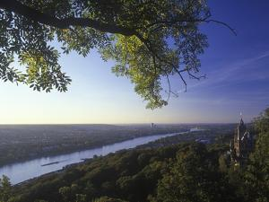 Germany, North Rhine-Westphalia, View from the Drachenfels on Drachenburg Castle and the Rhine by Andreas Keil