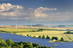 Alternative energy, wind power stations and solar farm, Saxony-Anhalt, Germany by Andreas Vitting