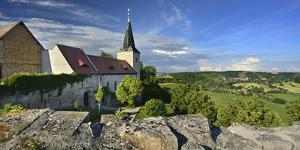 Monastery church Zscheiplitz, view of the Unstruttal, Freyburg, Saxony-Anhalt, Germany by Andreas Vitting