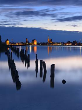 View Above the Strelasund on Stralsund at Night, Mecklenburg-West Pomerania, Germany by Andreas Vitting