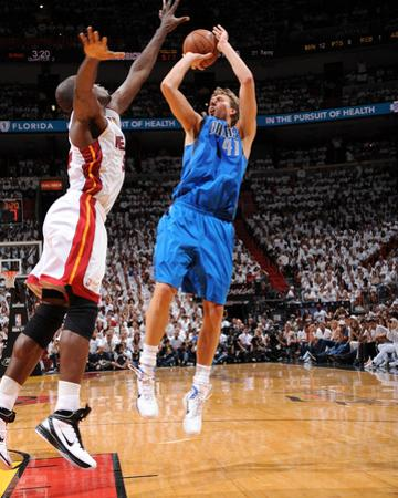 Dallas Mavericks v Miami Heat - Game One, Miami, FL - MAY 31: Dirk Nowitzki and Joel Anthony by Andrew Bernstein