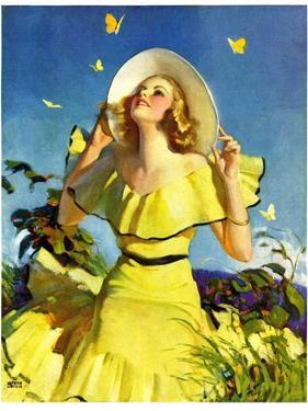 """""""Woman in Yellow,""""June 15, 1935 by Andrew Loomis"""