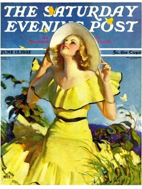 """Woman in Yellow,"" Saturday Evening Post Cover, June 15, 1935 by Andrew Loomis"