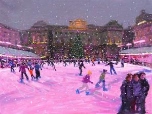 Christmas Skating,Somerset House with Pink Lights, 2014 by Andrew Macara