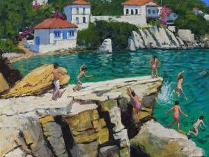Jumping into the Sea, Plates , Skiathos, 2015 by Andrew Macara