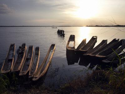 Dugout Canoes on the Congo River, Yangambi, Democratic Republic of Congo, Africa