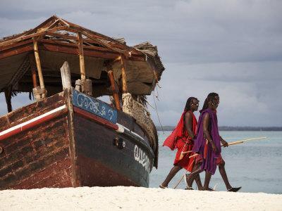Maasai Warriors on Kendwa Beach, Zanzibar, Tanzania, East Africa, Africa