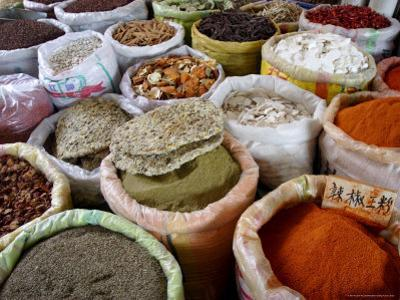 Spices and Dried Foods on Sale in Wuhan, Hubei Province, China