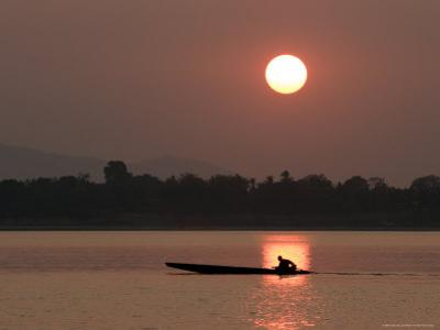 Sunset Over the Mekong River, Pakse, Southern Laos, Indochina, Southeast Asia