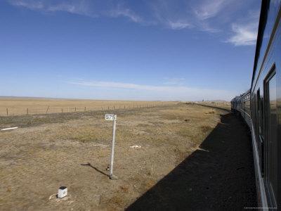 Trans-Mongolian Train Travelling Through the Gobi Desert En Route to Ulaan Baatar, Mongolia