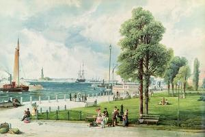 Castle Garden (View of Battery Park from South Ferry to Castle Garden) C.1886 (Embossed Litho) by Andrew Melrose