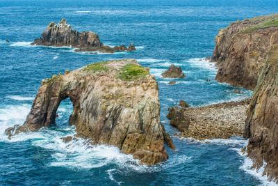 Enys Dodnan and the Armed Knight rock formations at Lands End, England