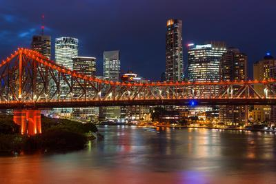 Story Bridge and Brisbane city skyline after dark, Queensland, Australia, Pacific