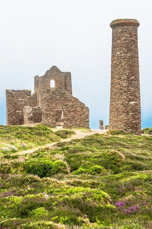 Wheal Coates Tin Mine on a foggy day, on the Cornish coast near St. Agnes, England