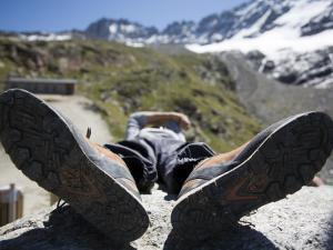 Climbing Guide Resting at Refugio Chabot by Andrew Peacock