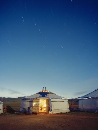 Yurt under a Starry Sky in Mongolia