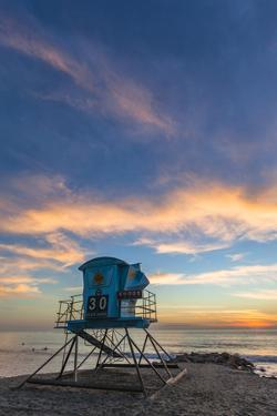 Lifeguard Stand at Sunset in Carlsbad, Ca by Andrew Shoemaker