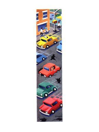 A car is struck inside a huge pot-hole in traffic - New Yorker Cartoon