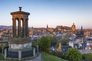 Dawn Breaks over the Dugald Stewart Monument Overlooking the City of Edinburgh, Lothian, Scotland by Andrew Sproule