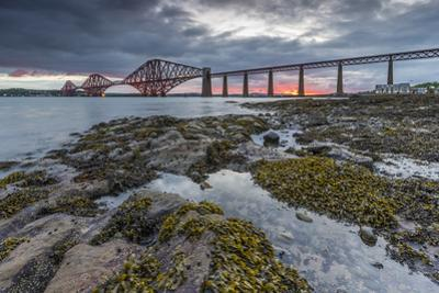 Dawn Breaks over the Forth Rail Bridge, UNESCO World Heritage Site, and the Firth of Forth by Andrew Sproule