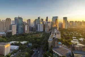 View of the Makati District in Manila at Sunrise, Philippines, Southeast Asia, Asia by Andrew Sproule