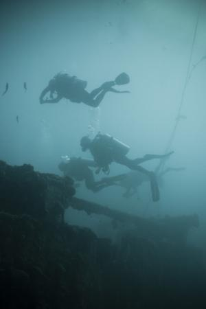 Scuba Divers Wreck Diving, Southern Thailand, Andaman Sea, Indian Ocean, Southeast Asia, Asia by Andrew Stewart