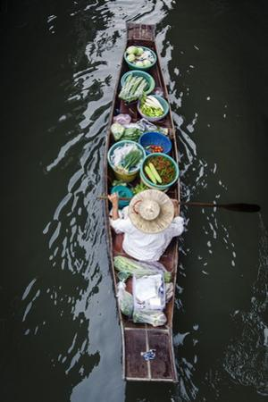 A Vendor Paddles their Boat, Damnoen Saduak Floating Market, Thailand, Southeast Asia, Asia by Andrew Taylor